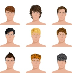 Different hairstyle men faces icons set vector