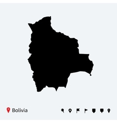 High detailed map of bolivia with navigation pins vector