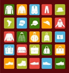Flat men set mens clothes and accessories icons vector