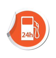 Petrol station 24h orange label vector