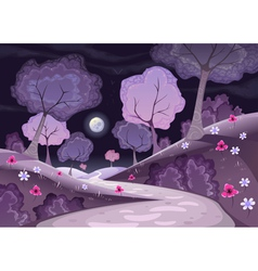 Landscape with trees and path in the night vector