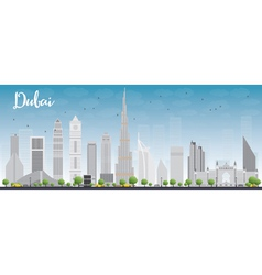 Dubai city skyline with grey skyscrapers vector