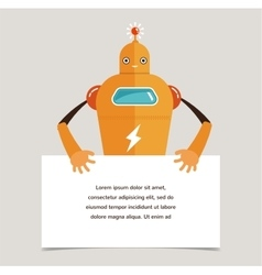 Cute robot character with a banner vector