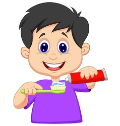 Kid cartoon squeezing tooth paste on a toothbrush vector