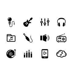 Set of sound and music black icons on white vector