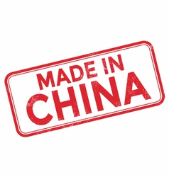 Made in china red rubber stamp over a white vector