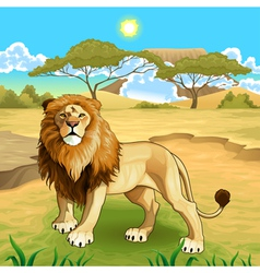 African landscape with lion king vector
