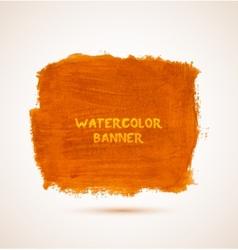 Abstract square orange watercolor hand-drawn vector