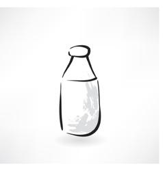 Milk bottle grunge icon vector