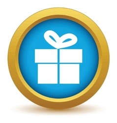 Gold gift icon vector