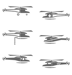 Helicopters icons set vector