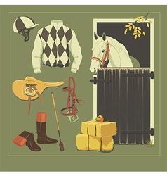 Jockey set vector