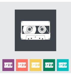 Audiocassette flat single icon vector
