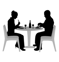 Couple sitting and dining vector