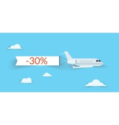 Flat airplane with shadow vector