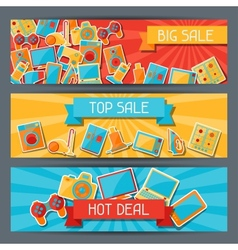 Home appliances and electronics horizontal banners vector