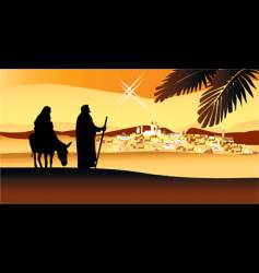 Holy night way to bethlehem vector