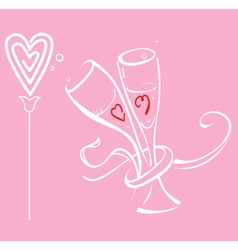 Two braided glass and flower heart vector