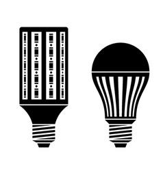 Led energy saving lamp bulb symbols vector