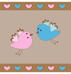 Cute birds love card hearts vector