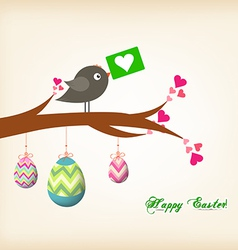 Easter eggs hanging on the wire greeting card with vector