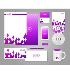 Corporate identity template with purple rhombuses vector