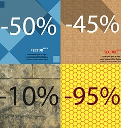 45 10 95 icon set of percent discount on abstract vector