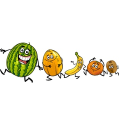 Happy running fruits cartoon vector