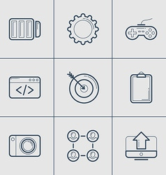 Set of modern thin line icons battery game code vector