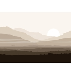 Lifeless landscape with huge mountains over sun vector