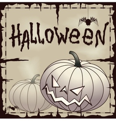 Halloween card wtih pumpkin over old paper vector