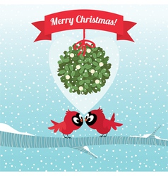 Birds kissing under a branch of mistletoe christma vector
