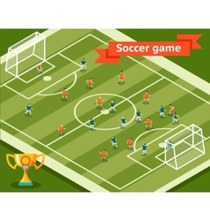 Soccer game football field and players vector