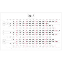 Calendar 2016 vector