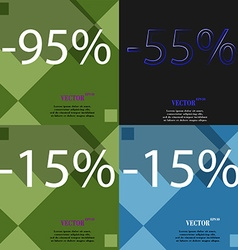 55 15 icon set of percent discount on abstract vector