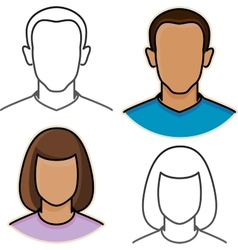 Abstract male and female avatar icons vector