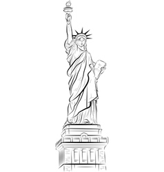 Drawing statue of liberty in new york usa vector