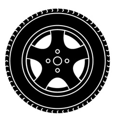 Car wheel black white symbol vector
