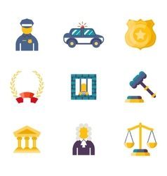 Flat law icons vector