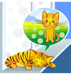 winter dreams ginger cat vector