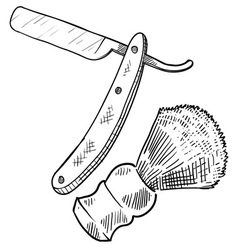 Doodle shave straight razor brush vector