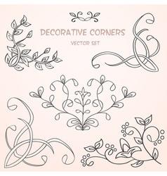 Floral decorative borders set vector