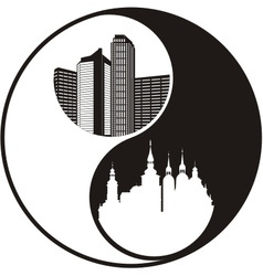 Yinyang historical and modern city vector