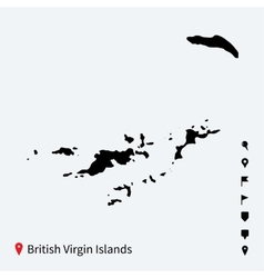 High detailed map of british virgin islands with vector