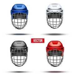 Set of classic ice hockey helmets vector