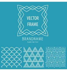 Set of outline emblems and patterns vector