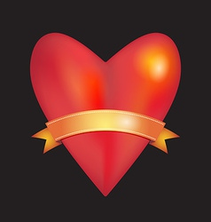 Red glossy shiny three-dimensional heart with gold vector