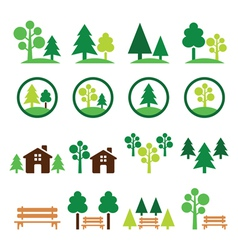 Trees forest park green icons set vector
