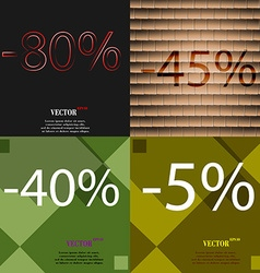 45 40 5 icon set of percent discount on abstract vector