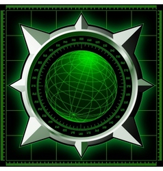 Radar screen with steel compass rose vector